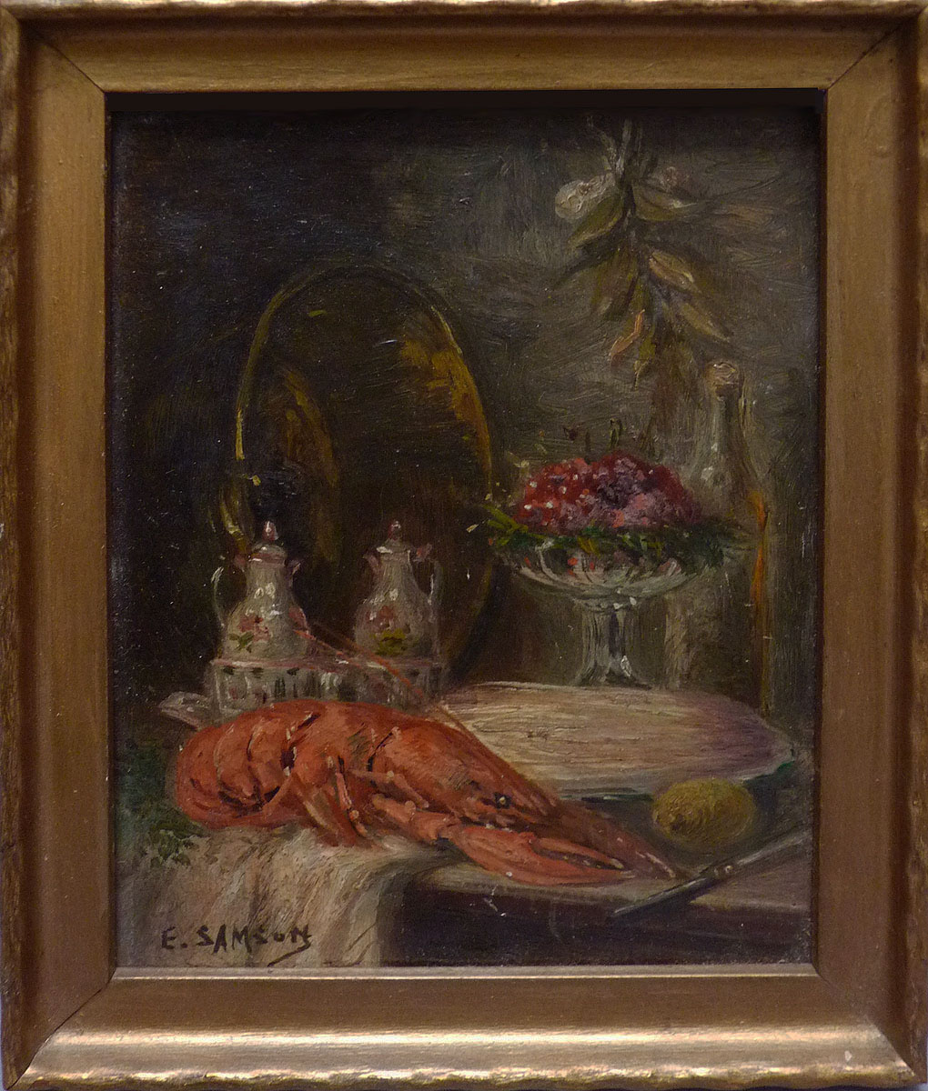 nature morte au homard peinture du 19e si cle sign e paris. Black Bedroom Furniture Sets. Home Design Ideas