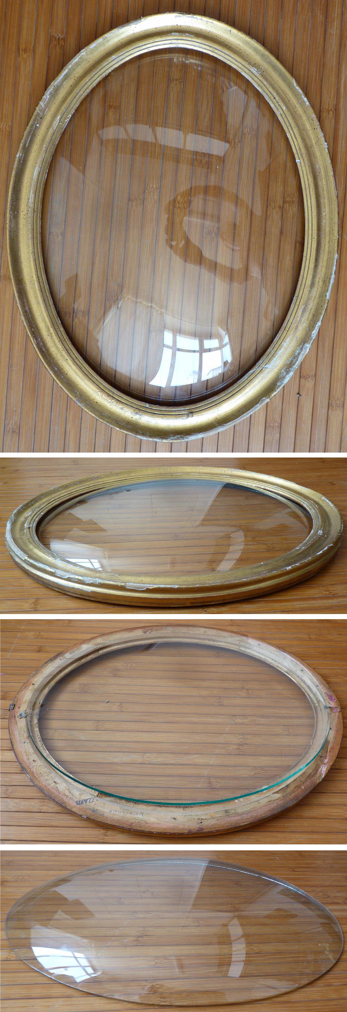 cadre ovale en bois dor et verre bomb pour pastel ou relique ebay. Black Bedroom Furniture Sets. Home Design Ideas