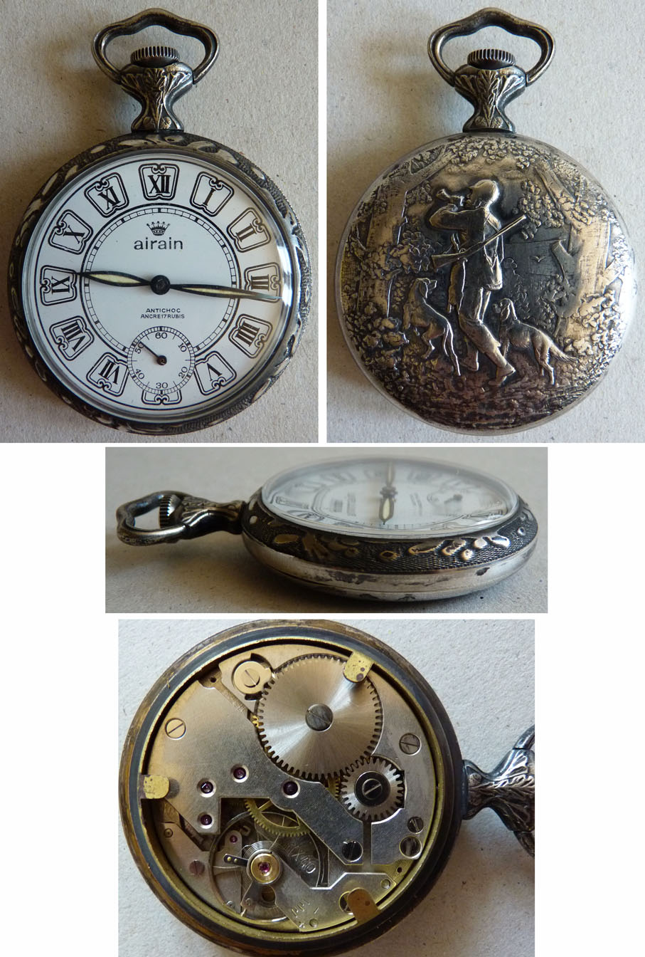 Montre gousset airain metal 20e si cle d cor chasse chasseur chien hunting watch ebay for Montre decoration