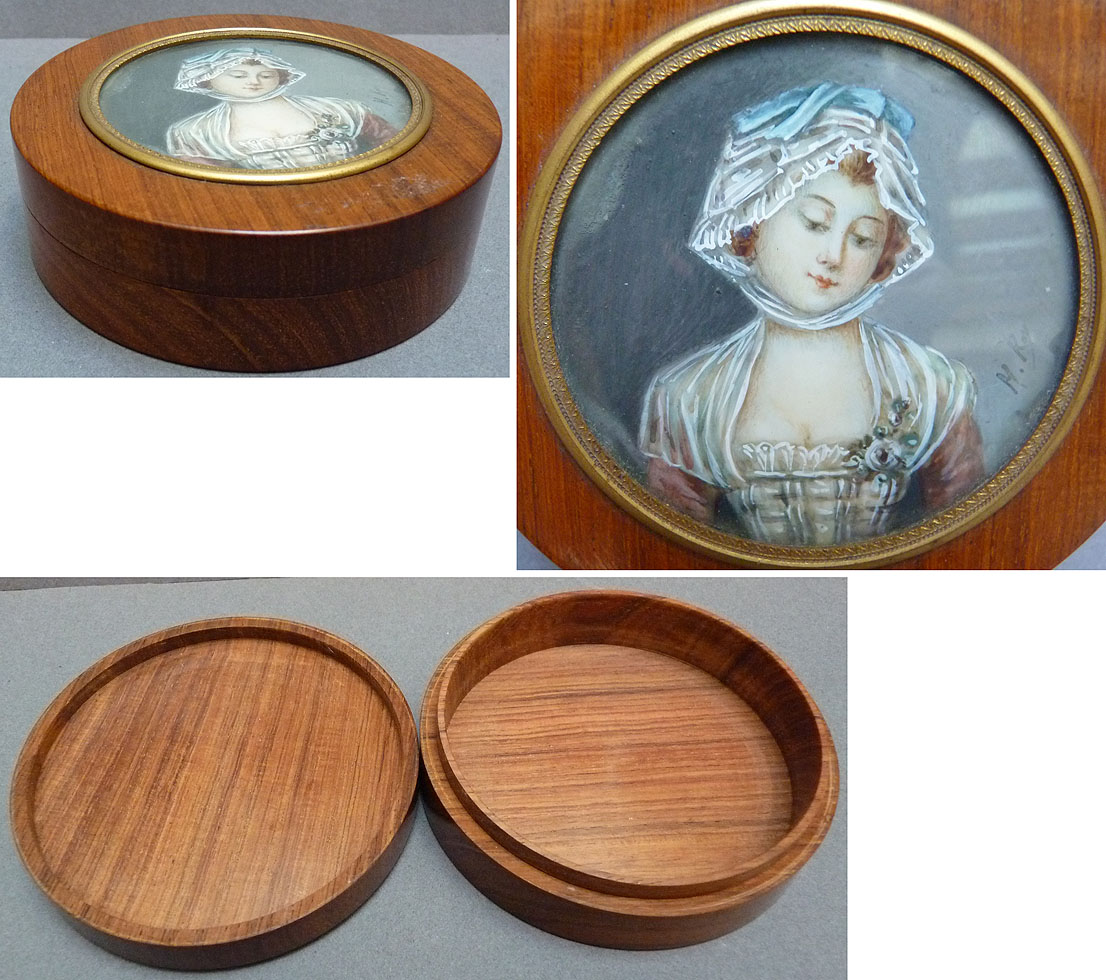 Boite ronde en bois avec peinture miniature sign e roy 19e for Peinture pour escalier bois brut
