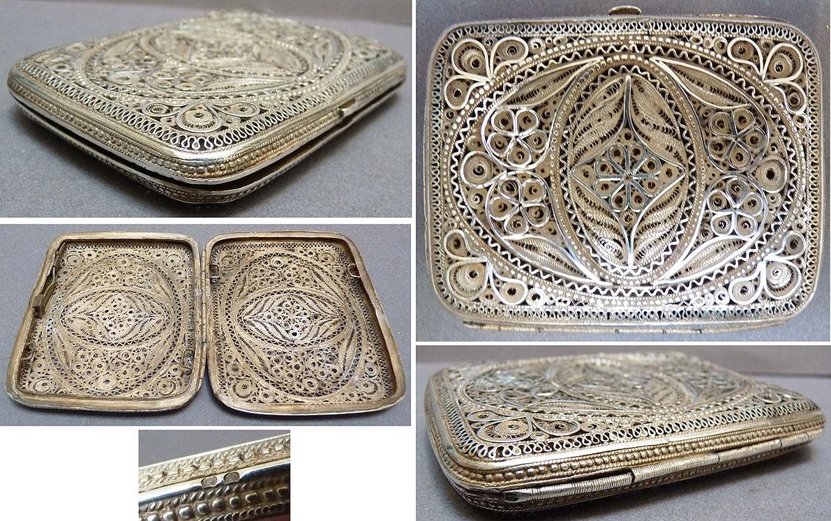 etui cigarettes boite porte cartes en argent massif filigrane silver box ebay. Black Bedroom Furniture Sets. Home Design Ideas
