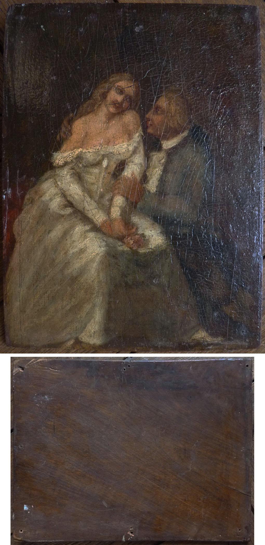 Sc ne galante peinture l 39 huile sur bois d but du 19e si cle painting ebay - Peinture a l huile sur bois ...