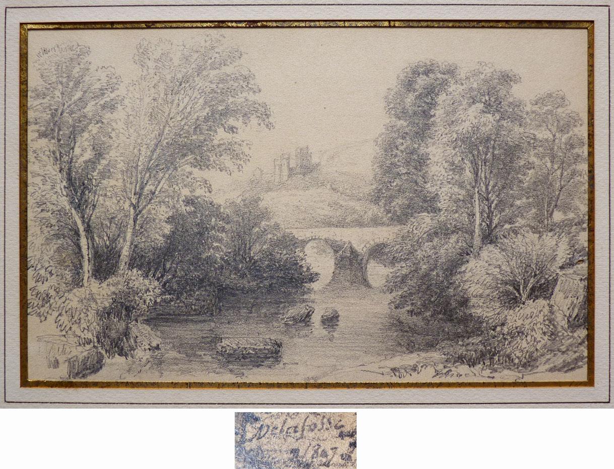 Details about paysage dessin au crayon signé delafosse daté 1807