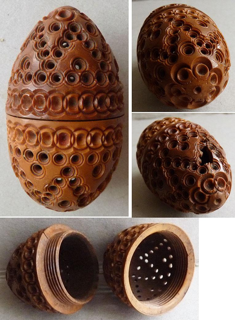 superbe boite oeuf en bois corozo sculpt 19e si cle pour. Black Bedroom Furniture Sets. Home Design Ideas