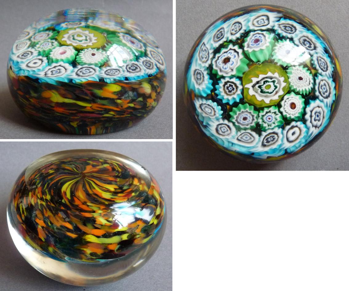 Fabuleux Sulfure boule presse-papier en verre ancien mille fleurs Baccarat  JC04